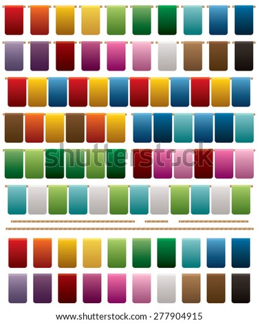 collection of bright coloured squared bunting, 20 variations isolated on white - stock vector