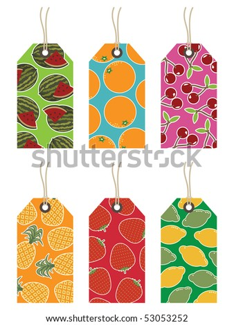 collection of bright fruit tags isolated on white