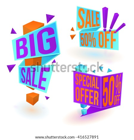 Collection of bright sale banners. Big sale sticker. Special offer tag. 50% off label. Vector, eps10. - stock vector