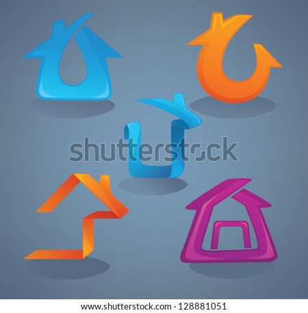 Collection of bright, shine and glossy real estate icons. Vector Illustration. - stock vector
