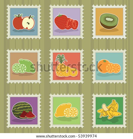 collection of bright stamps with fruit motifs - stock vector