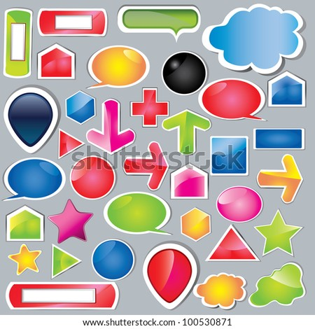 Collection of brightly colored, glossy web elements Perfect for adding your own text or icons. Blends used to create drop shadow effect. - stock vector
