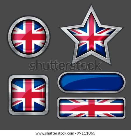 collection of british flag icons vector - stock vector