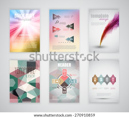 Collection of brochure and flyer templates with infographic design elements - stock vector