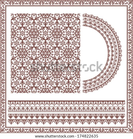 collection of brown ornaments for design - stock vector