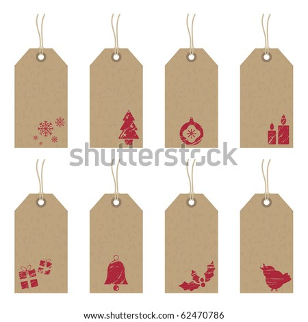 collection of brown paper tags with red christmas motifs - stock vector