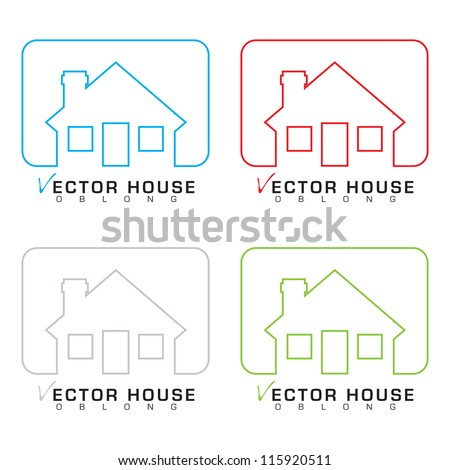 Collection of bungalow homes with outline illustrations - stock vector