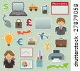 collection of business and finance stickers - stock photo