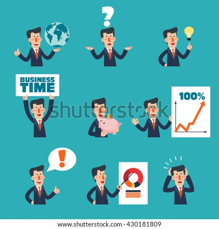 Collection of business man characters in various poses and situations. Set of young business man portraits doing different gestures - stock vector