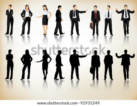 Collection of business people silhouettes in different positions - stock vector