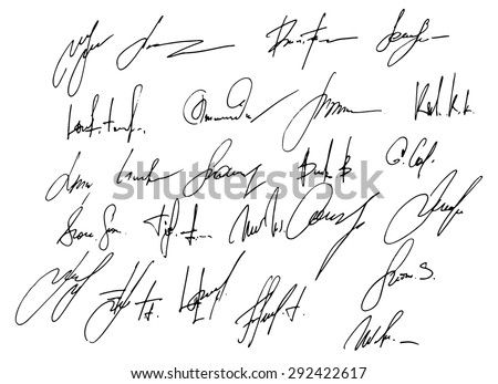 Collection 25 Business Signatures Stock Photo Photo Vector