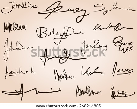 Collection of business signatures. Personal handwriting contract fictitious signature set.