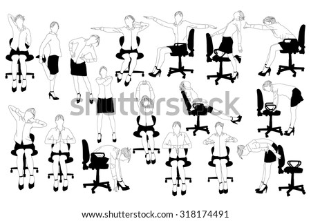 collection business woman doing exercise office stock vector