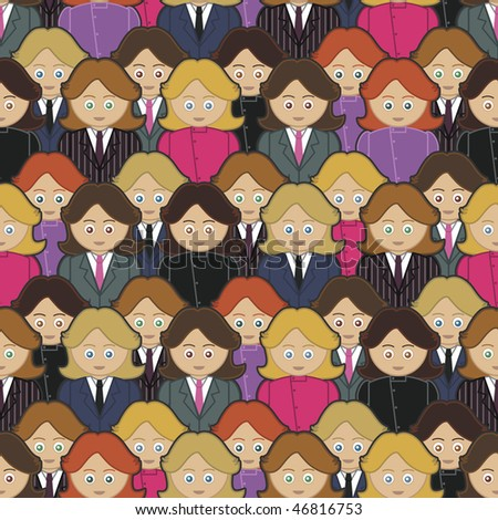 collection of business women in seamless pattern with clipping mask