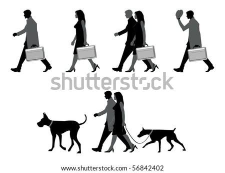 Collection of busy people silhouettes walking - stock vector