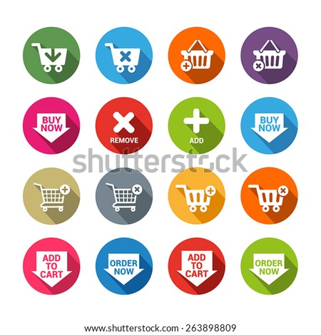 "Collection of  buttons for e-shops or online apps in flat design style. They symbolize shopping, ""add to cart"" actions and ordering goods online. - stock vector"
