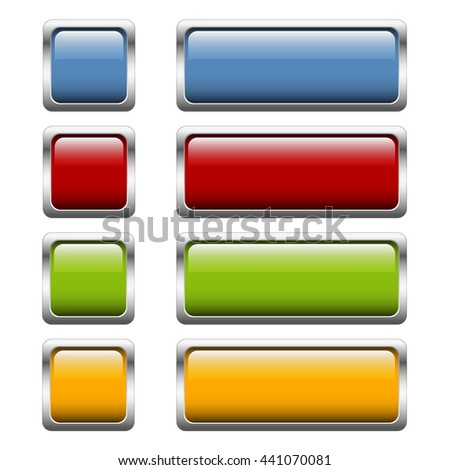 collection of buttons with shiny silver frame in four colors