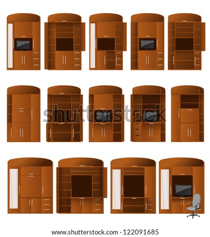 Collection of cabinet bureaus of different configurations for convenient work and storage