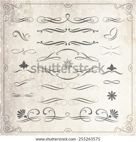 Collection of calligraphic and decorative design patterns in vector format - stock vector