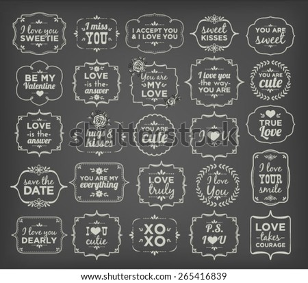 Collection Of Calligraphic And Typographic Valentine/Love Vintage Design (White Word Art On Blackboard) - stock vector