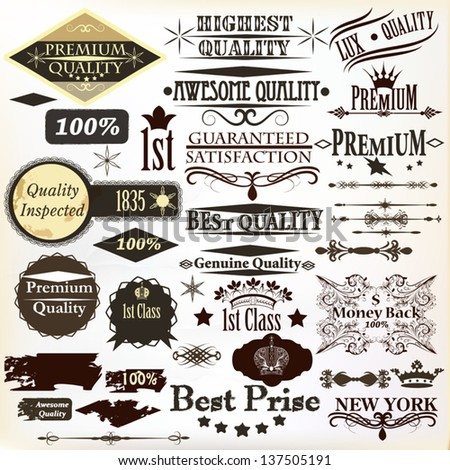 Collection of  calligraphic elements, labels premium, best and original quality in retro style - stock vector