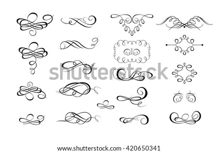 Collection of calligraphic flourishes and page rulers - stock vector