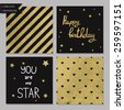 Collection of 4 card templates. Could use as seamless tile pattern. Trendy gold style  Perfect for valentines day, birthday, save the date invitation. You are my star - stock photo