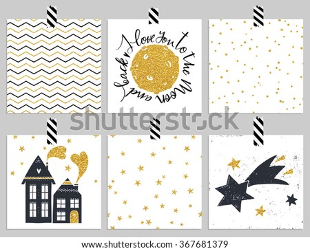 Collection of 6 card templates. Could use as seamless tile pattern. Trendy gold style Perfect for valentines day, birthday, save the date and wedding invitation - stock vector