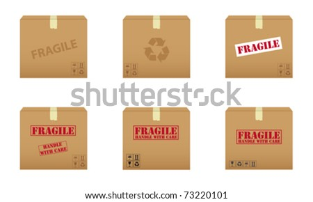 Collection of cardboard boxes - stock vector