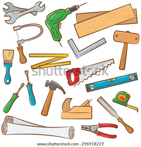 Carpenter Tools Set Use Construction Renovation Stock Vector ...