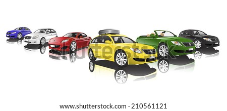 Collection of cars, vector. - stock vector