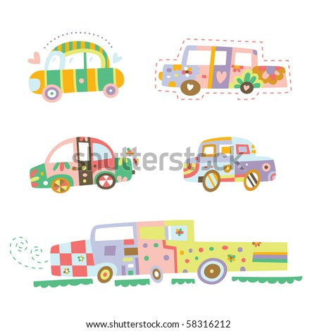 Collection of cars with cute details and colors. - stock vector