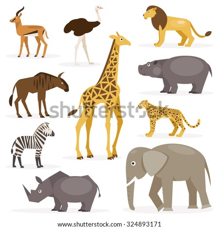 Collection of cartoon animals savannah on a white background - stock vector