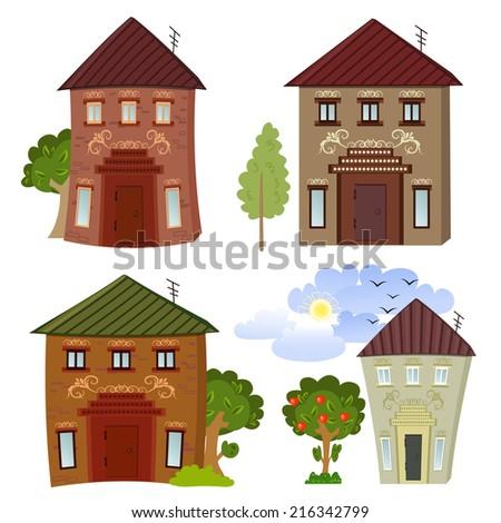 Collection of cartoon buildings  - stock vector