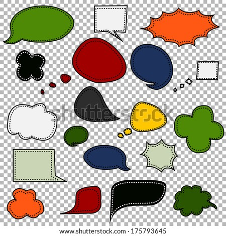Collection of Cartoon Chat Bubbles in Various Colors - stock vector