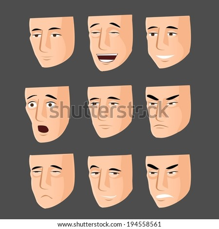 Collection of cartoon emotion faces - stock vector