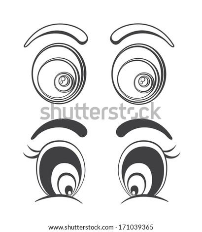 Collection of cartoon eyes illustrations. Fully editable eps 8 file - stock vector