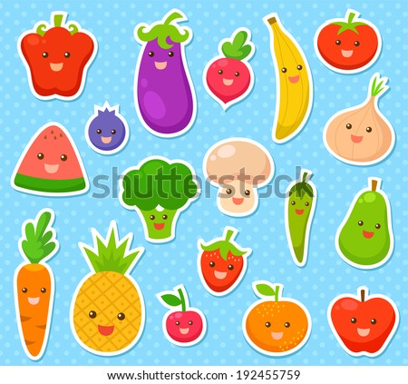 collection of cartoon fruit and vegetables  - stock vector