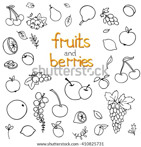 Collection of cartoon fruits and berries. Vector illustration. Set of fruit and berry icons.Black outline. Isolated.Web icon hand drawn in doodle style.Design elements. - stock vector