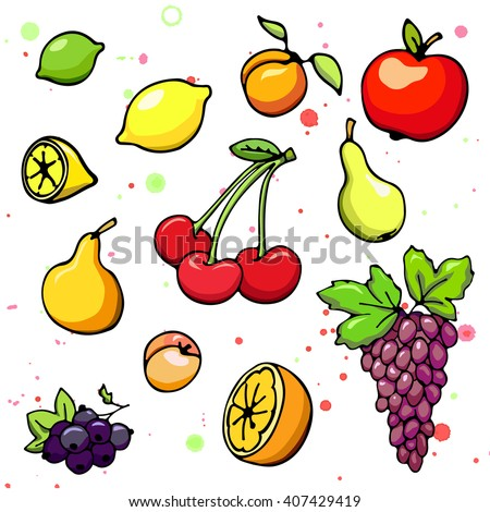 Collection of cartoon fruits and berry. Vector illustration. Set of colorful cartoon fruit and berry icons. Isolated on white. Fruit web icon hand drawn in doodle style. On watercolor drops background - stock vector
