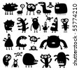 collection of cartoon funny monsters silhouettes - stock photo