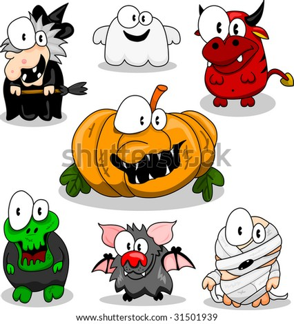 Collection of cartoon halloween creatures. - stock vector