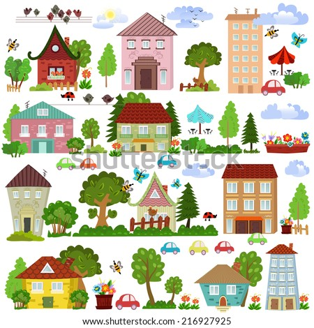 Collection of cartoon houses and trees for your design - stock vector