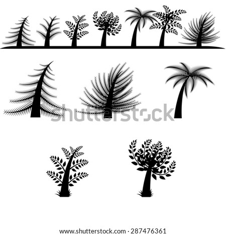 Collection of cartoon style vector tree silhouettes - stock vector