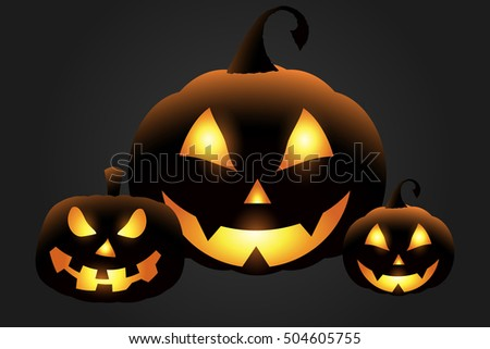 Collection of carved Halloween pumpkin faces. Vector illustration