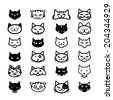 Collection of cat icons, illustration - stock vector
