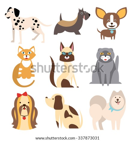 Collection of Cats and Dogs of Different Breeds. Vector Illustration Set - stock vector