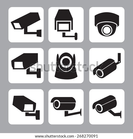 Collection of CCTV and security camera vector icon ,illustration - stock vector