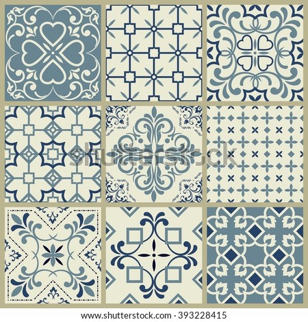 Collection of 9 ceramic tiles in blue and gray - stock vector