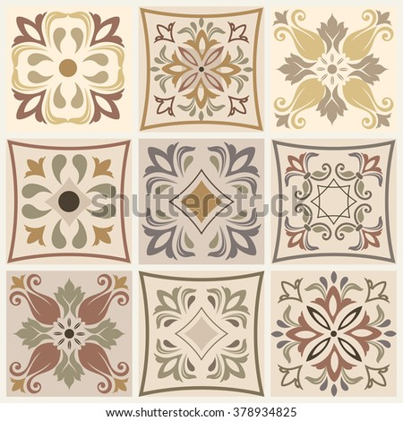 Collection of 9 ceramic tiles in brown, grey and beige - stock vector